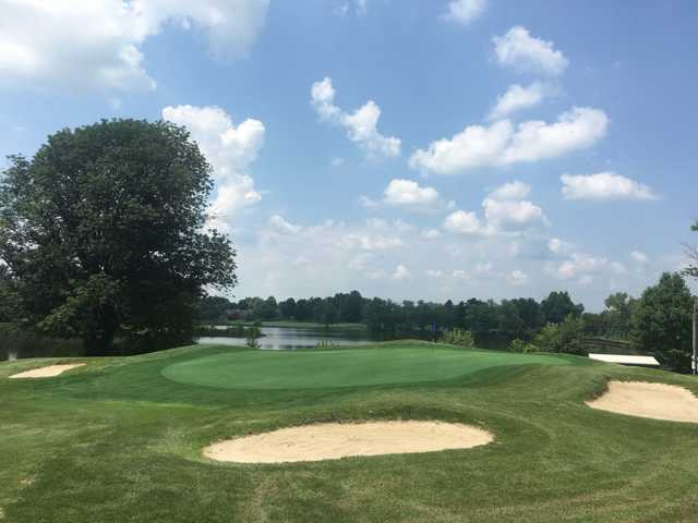 View of a bunkered green at Shelbyville Country Club
