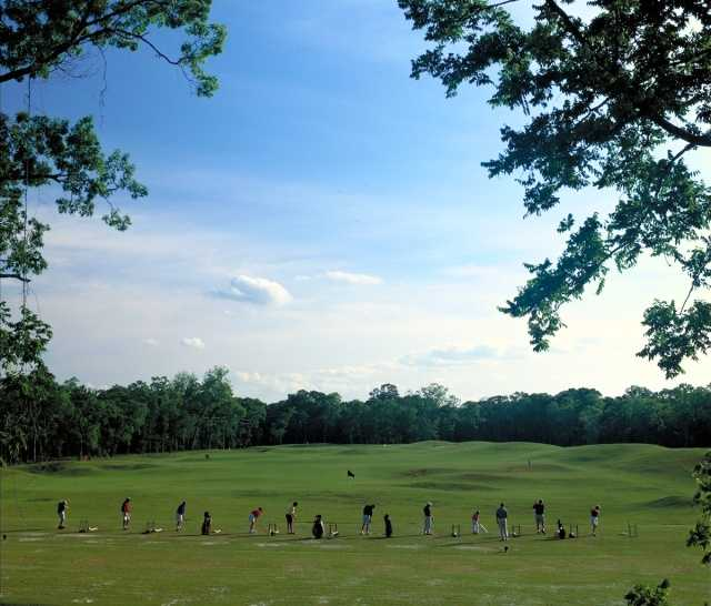 A view of the driving range at Sienna Plantation Golf Club
