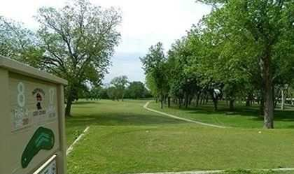 A view from tee sign #8 at Independence Golf Course.