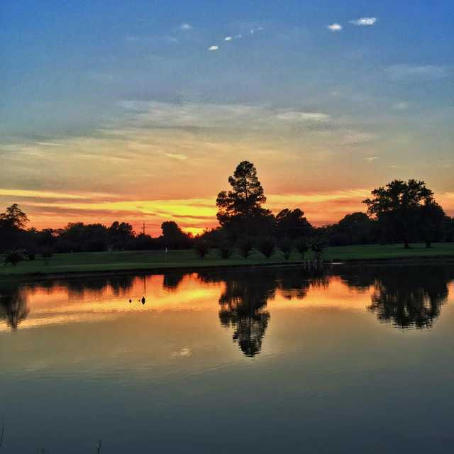 A sunset view of a hole at Longview Country Club.