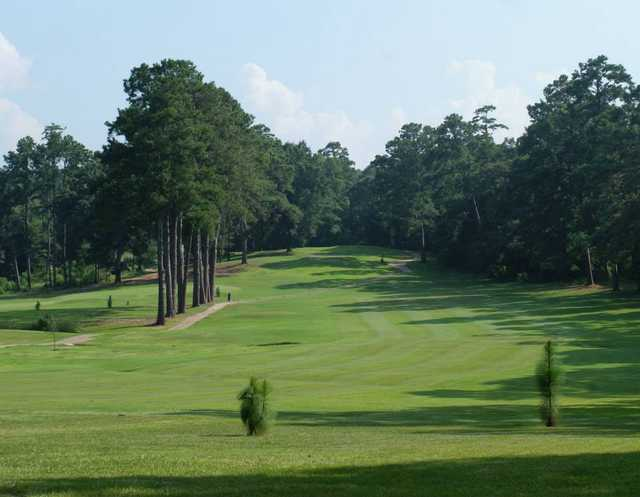 A view of a fairway at Piney Woods Country Club.