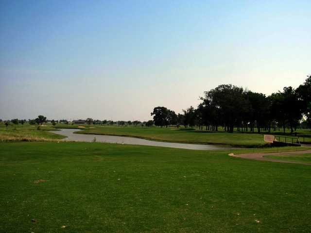 A view of hole #8 from tee at Pecan Lakes Golf Course