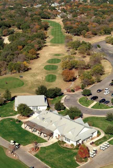 Aerial view of the clubhouse at SilverHorn Golf Club of Texas