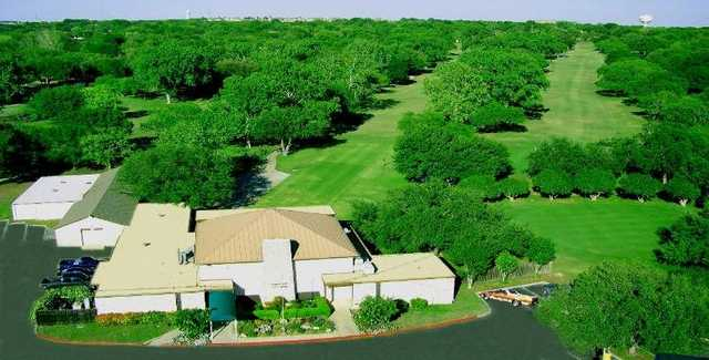 Aerial view of the clubhouse at Windcrest Golf Club