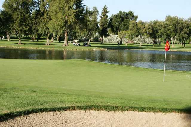 A view of a hole with water coming into play at Turlock Golf & Country Club.