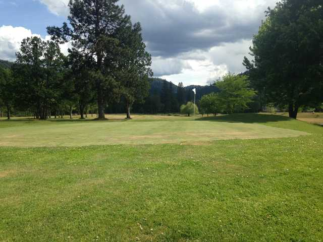 A view of a hole at Trinity Alps Golf Course.