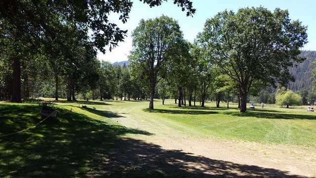 A sunny day view from Trinity Alps Golf Course.