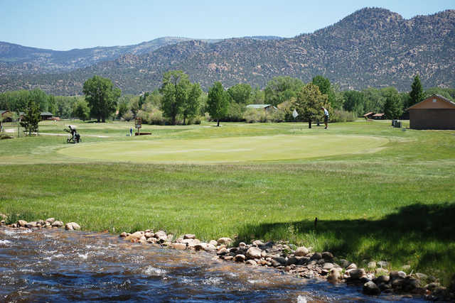 A view of the 3rd green at Collegiate Peaks Golf Course.