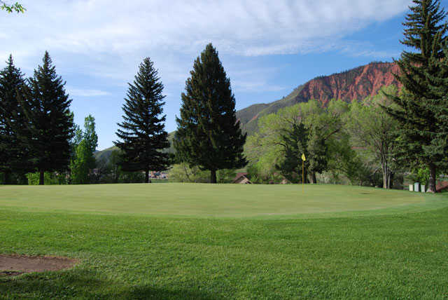 A view of the 1st green at Glenwood Springs Golf Club.