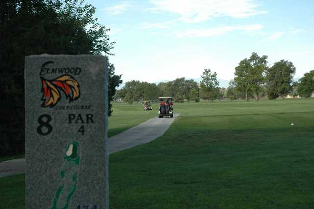 A view from tee #8 sign at Elmwood Golf Course.