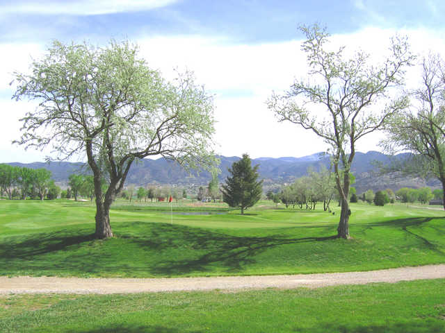 A fresh spring day view of a hole at Salida Golf Club.