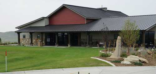 A view of the clubhouse at Bell Nob Golf Course.