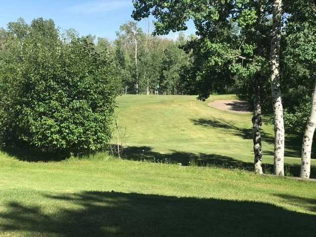 A view of a hole from Yellowstone Golf Resort at Aspen Acres RV Park.