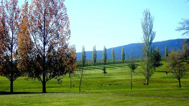 A fall day view of a hole at Grangeville Country Club.