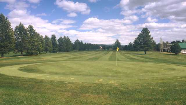 A view of a green at Island Park Village Resort.