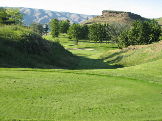 A sunny day view of a green at Lewiston Golf & Country Club.