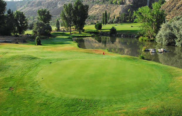 A view of the 5th green at Canyon Springs Golf Course.