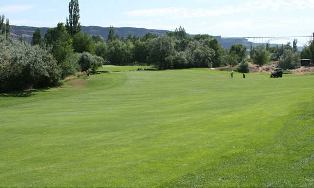 A view from fairway #18 at Canyon Springs Golf Course.