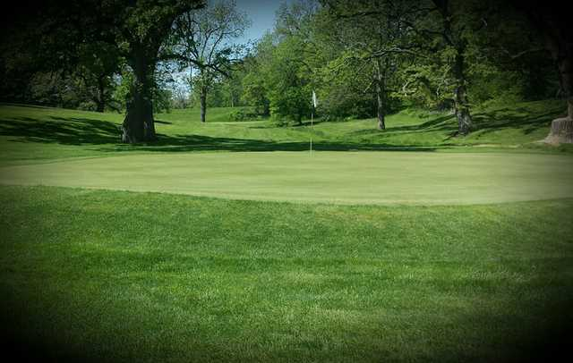 A view of a green at Stagecoach Golf Course.