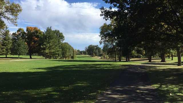 A sunny day view of a fairway at Bunn Golf Course (Mike Baker).