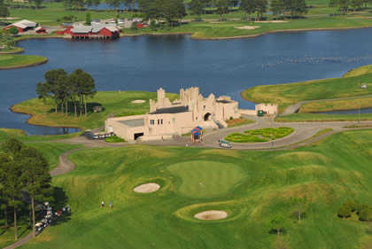 Aerial view of the clubhouse at Wizard Golf Course