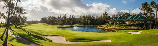 View of the finishing hole at Poipu Bay Golf Course