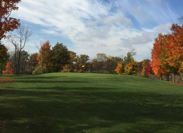 A fall day view from a fairway at Hidden Valley Golf Club.