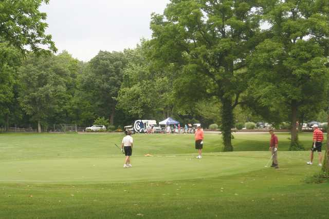 A view of a green at Cascades Golf Course.