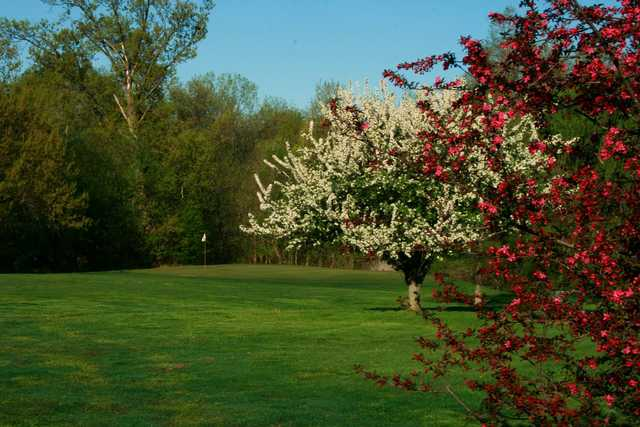 A splendid spring day view of a green at Howell Par Three Golf Course.
