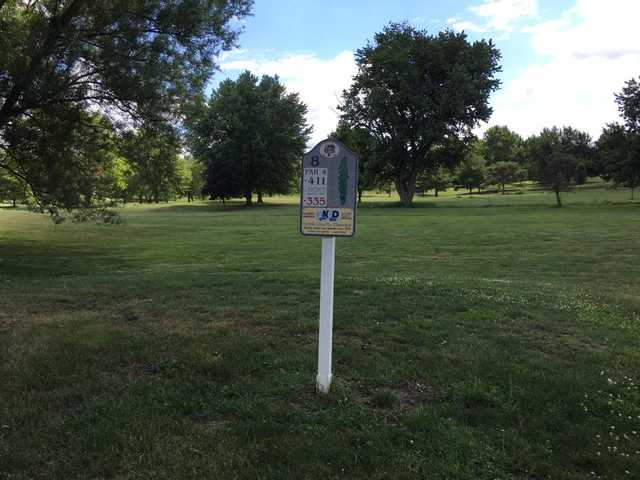 A view from tee #8 sign at Kendallville Golf Course.