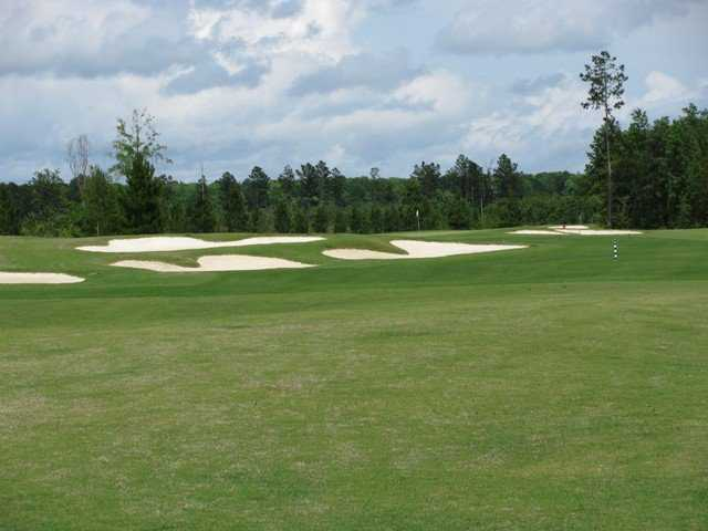 A view of green protected by bunkers from The Golf Club at Hilton Head Lakes