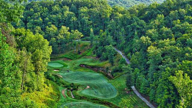 Aerial view of the 13th hole from the Eagle Ridge Golf Course At Yatesville Lake State Park
