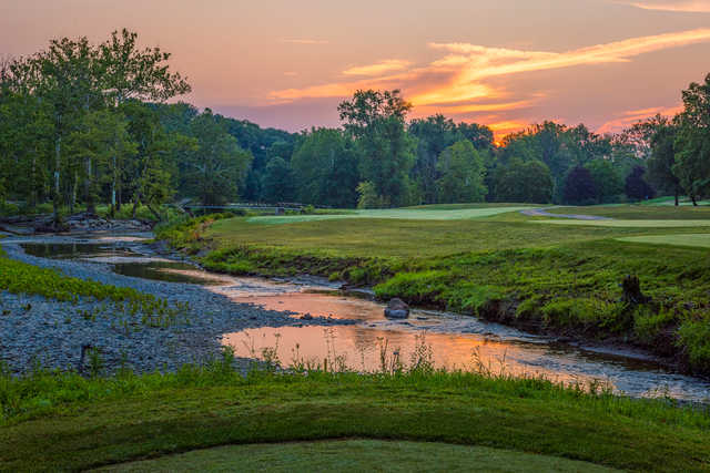 Sunset view of the 14th hole from Valley of the Eagles Golf Club