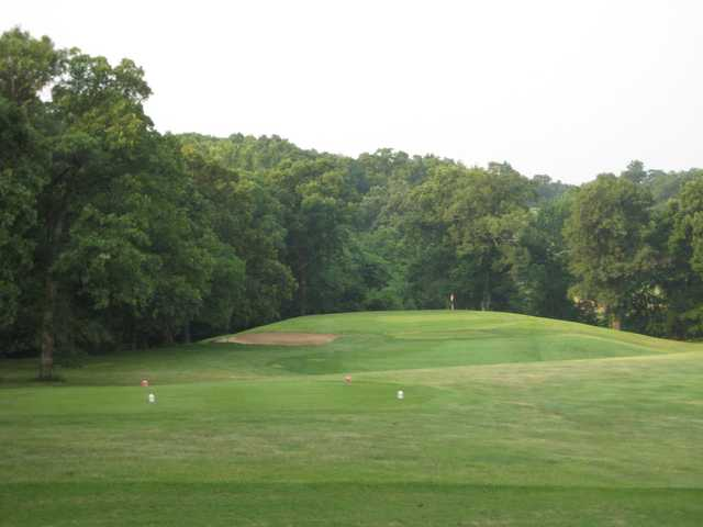A view of a tee and a green in the distance at Heritage Hills Golf Course.