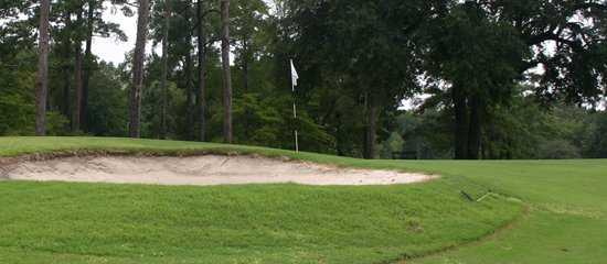 A view of green with bunker in foreground at Summerville Country Club