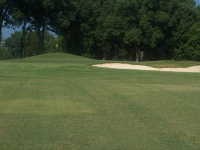 A view of green with bunker on the right at Spring Lake Country Club