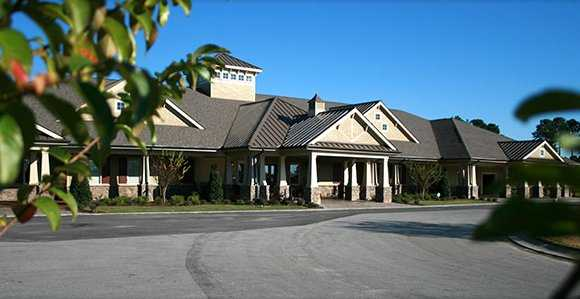 A view of the clubhouse at Crow Creek Golf Club