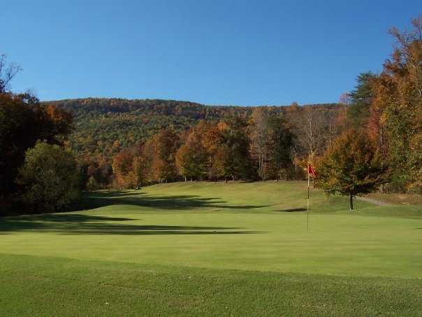 A view of a green from Hidden Falls at Mt. Airy.