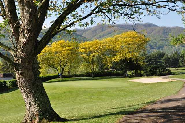A sunny day view of a green at Pine Oaks Golf Club.