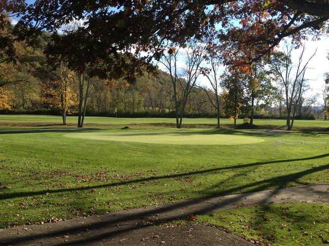 A fall day view of a green at Valley View Country Club.