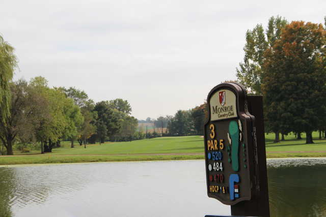 A view from tee #3 sign at Monroe Country Club.