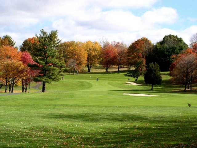 A fall day view of a fairway at Chesley Oaks Golf Club.