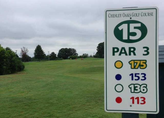 A view from tee #15 sign at Chesley Oaks Golf Club.