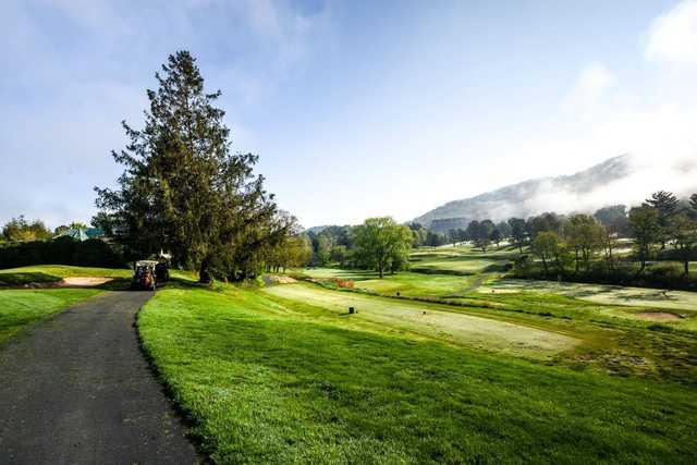 A view of a tee at Grove Park Golf Course (Mt Pisgah Academy Bulletin Board).