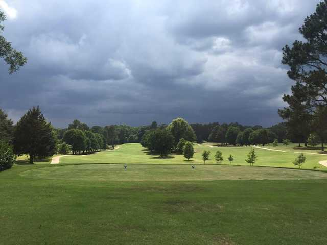 A cloudy day view from a tee at Bel Air Golf Course.