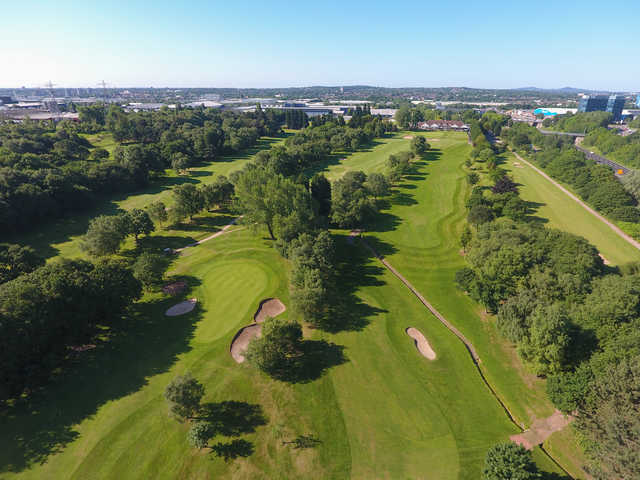 Aerial view from Sandwell Park Golf Club