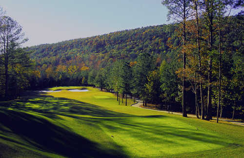 A view of hole #5 at Limestone Springs Golf Club.