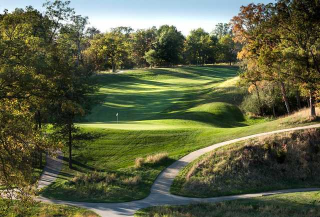 A view of the 1st green at Spirit Hollow Golf Course.
