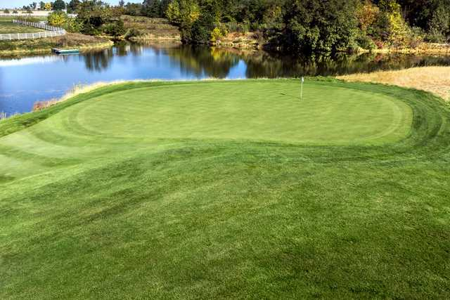 A view of the 6th green at Spirit Hollow Golf Course.