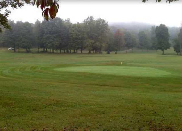 A view of a green at Cedar Valley Golf Course.